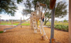 natural wood playground tomball texas grazing horse custom sculpture high challenge climber ropes