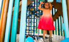 Elyson Texas wood playground custom tower interior net chimney