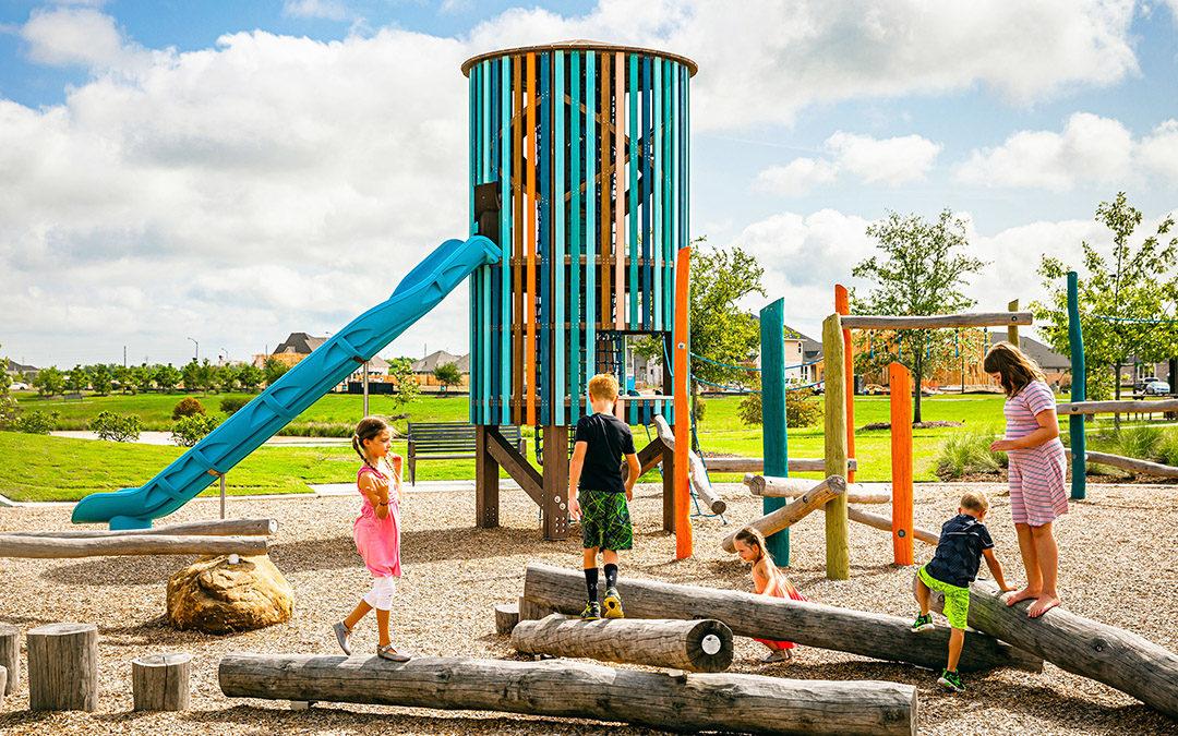 timber grove natural playground log pile climber