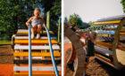 custom playground Kiwanis Park London natural playground sliding rails net climber