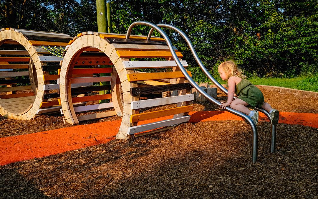 Kiwanis Park London Ontario caterpillar playground sliding rails