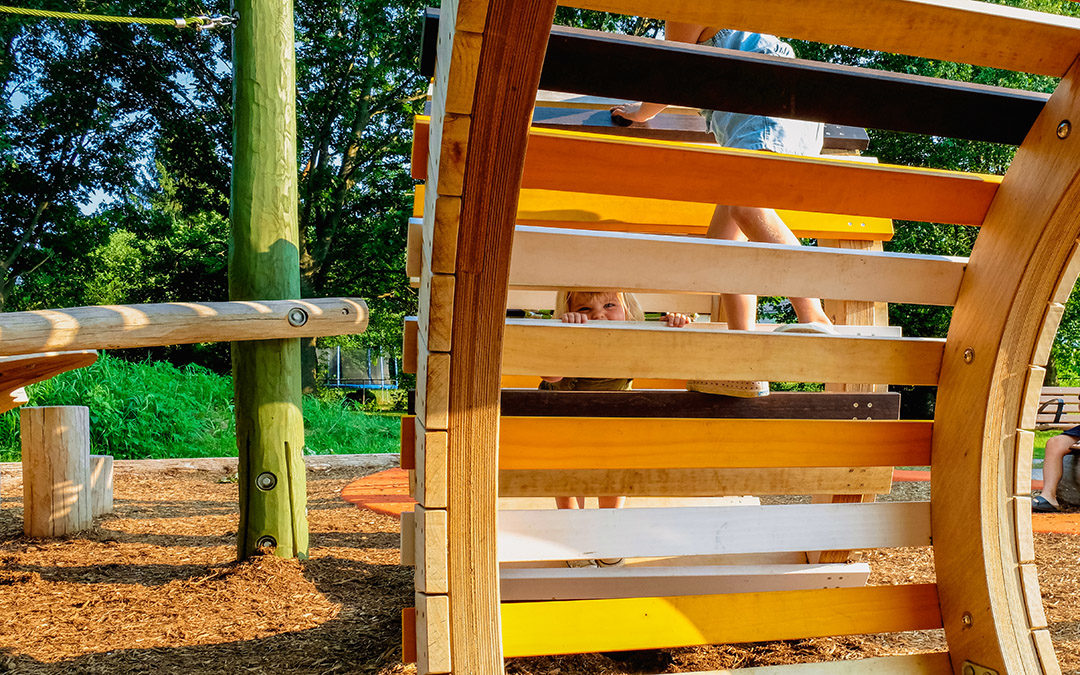 Kiwanis park london ontario caterpillar sculpture climbing accoya ladder peekaboo