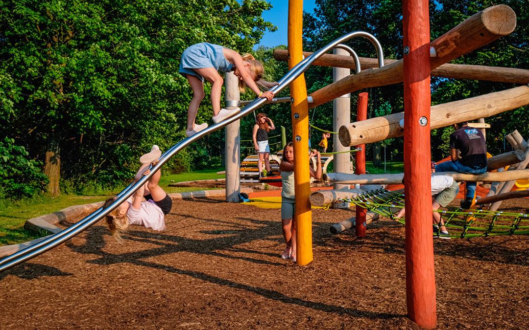 Kiwanis Park London nature play climbing sliding rails net play