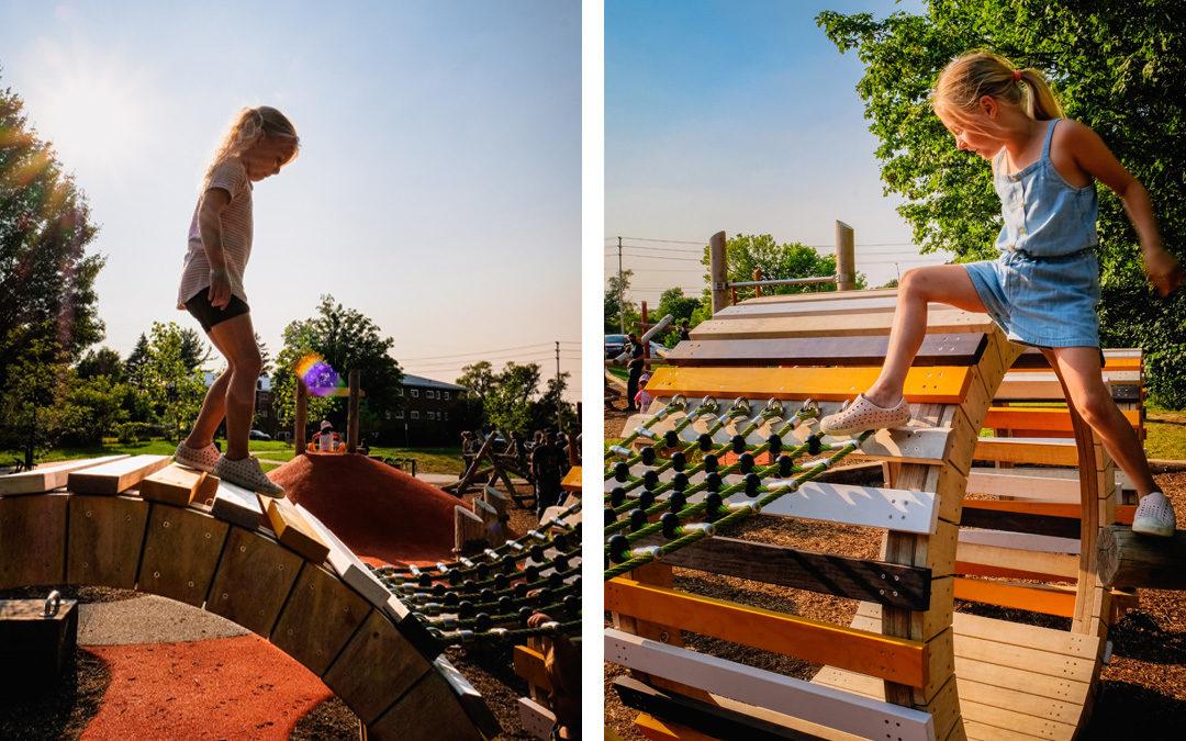 unprescribed play natural playground sculpture wood net climber